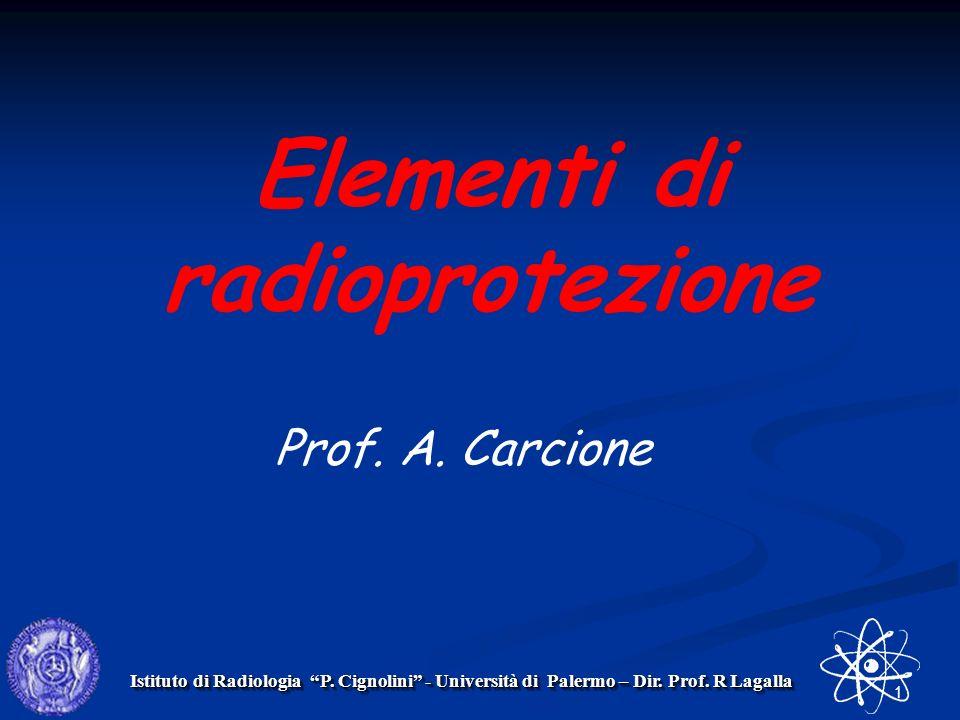 1 Istituto di Radiologia P. Cignolini - Università di Palermo – Dir. Prof. R Lagalla Elementi di radioprotezione Prof. A. Carcione