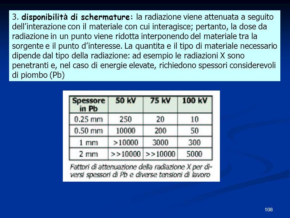 108 3. disponibilit à di schermature: la radiazione viene attenuata a seguito dellinterazione con il materiale con cui interagisce; pertanto, la dose