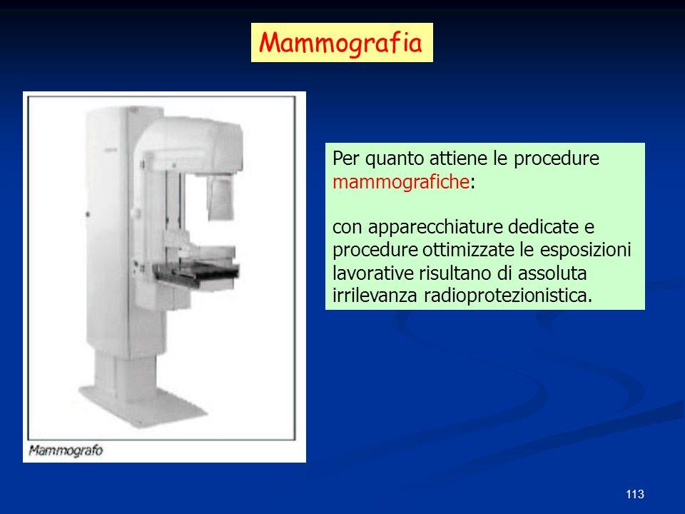 113 Per quanto attiene le procedure mammografiche: con apparecchiature dedicate e procedure ottimizzate le esposizioni lavorative risultano di assolut