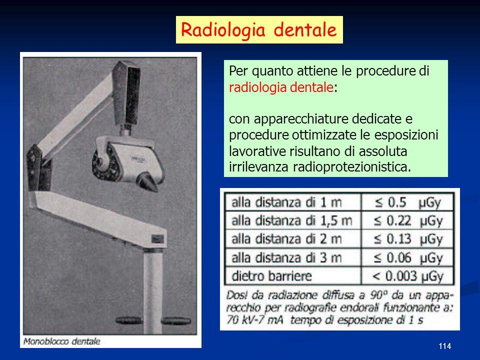 114 Radiologia dentale Per quanto attiene le procedure di radiologia dentale: con apparecchiature dedicate e procedure ottimizzate le esposizioni lavo