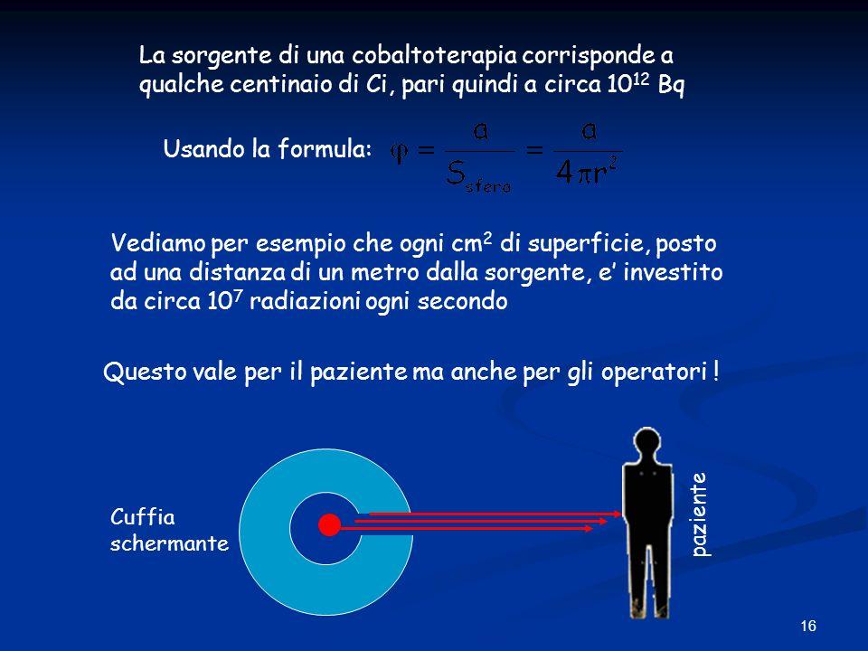 16 La sorgente di una cobaltoterapia corrisponde a qualche centinaio di Ci, pari quindi a circa 10 12 Bq Usando la formula: Vediamo per esempio che og