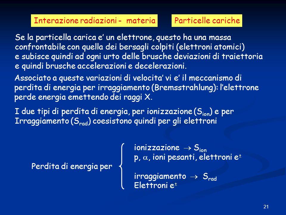 21 Interazione radiazioni - materiaParticelle cariche Se la particella carica e un elettrone, questo ha una massa confrontabile con quella dei bersagl
