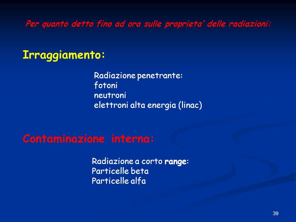 39 Per quanto detto fino ad ora sulle proprieta delle radiazioni: Irraggiamento: Contaminazione interna: Radiazione penetrante: fotoni neutroni elettr