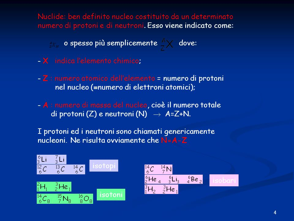 4 Nuclide: ben definito nucleo costituito da un determinato numero di protoni e di neutroni. Esso viene indicato come: o spesso più semplicemente dove
