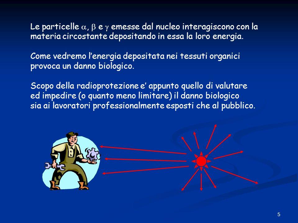 5 Le particelle, e emesse dal nucleo interagiscono con la materia circostante depositando in essa la loro energia. Come vedremo lenergia depositata ne