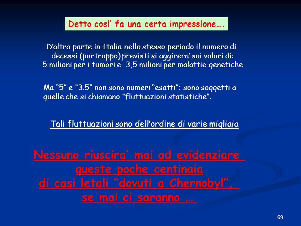 69 Detto cosi fa una certa impressione…. Daltra parte in Italia nello stesso periodo il numero di decessi (purtroppo) previsti si aggirera sui valori