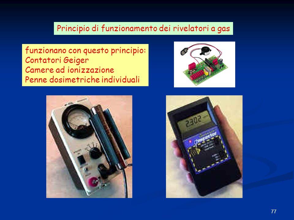 77 funzionano con questo principio: Contatori Geiger Camere ad ionizzazione Penne dosimetriche individuali Principio di funzionamento dei rivelatori a