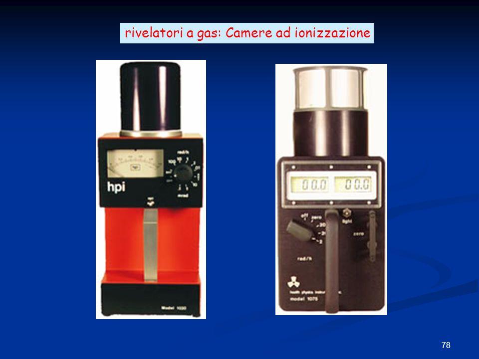 78 rivelatori a gas: Camere ad ionizzazione