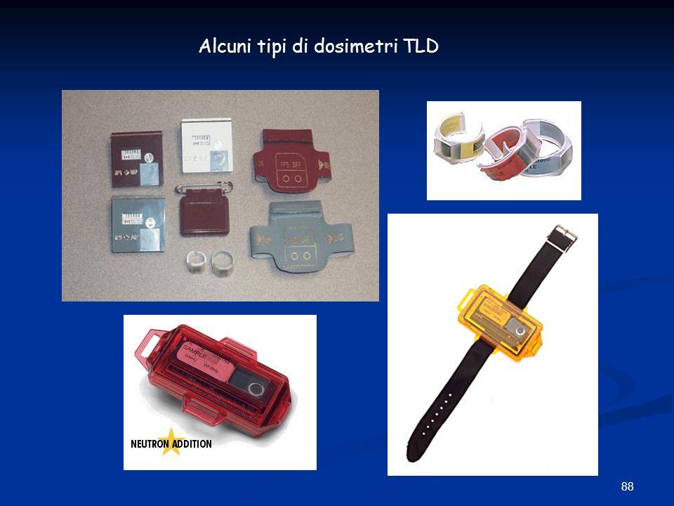 88 Alcuni tipi di dosimetri TLD
