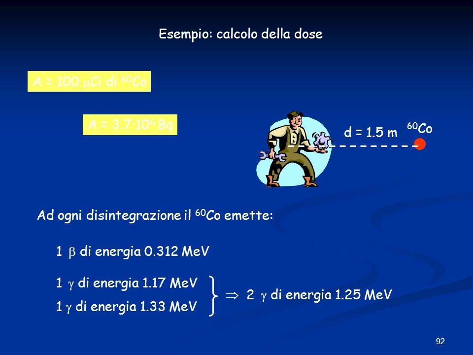 92 Esempio: calcolo della dose A = 100 Ci di 60 Co d = 1.5 m 60 Co A = 3.7·10 6 Bq Ad ogni disintegrazione il 60 Co emette: 1 di energia 0.312 MeV 1 d