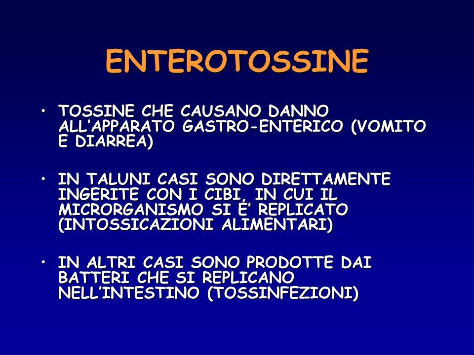 ENTEROTOSSINE TOSSINE CHE CAUSANO DANNO ALLAPPARATO GASTRO-ENTERICO (VOMITO E DIARREA)TOSSINE CHE CAUSANO DANNO ALLAPPARATO GASTRO-ENTERICO (VOMITO E
