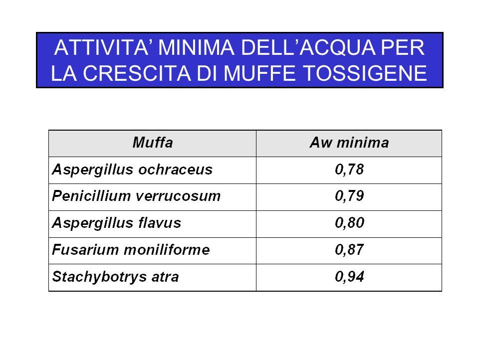 ATTIVITA MINIMA DELLACQUA PER LA CRESCITA DI MUFFE TOSSIGENE