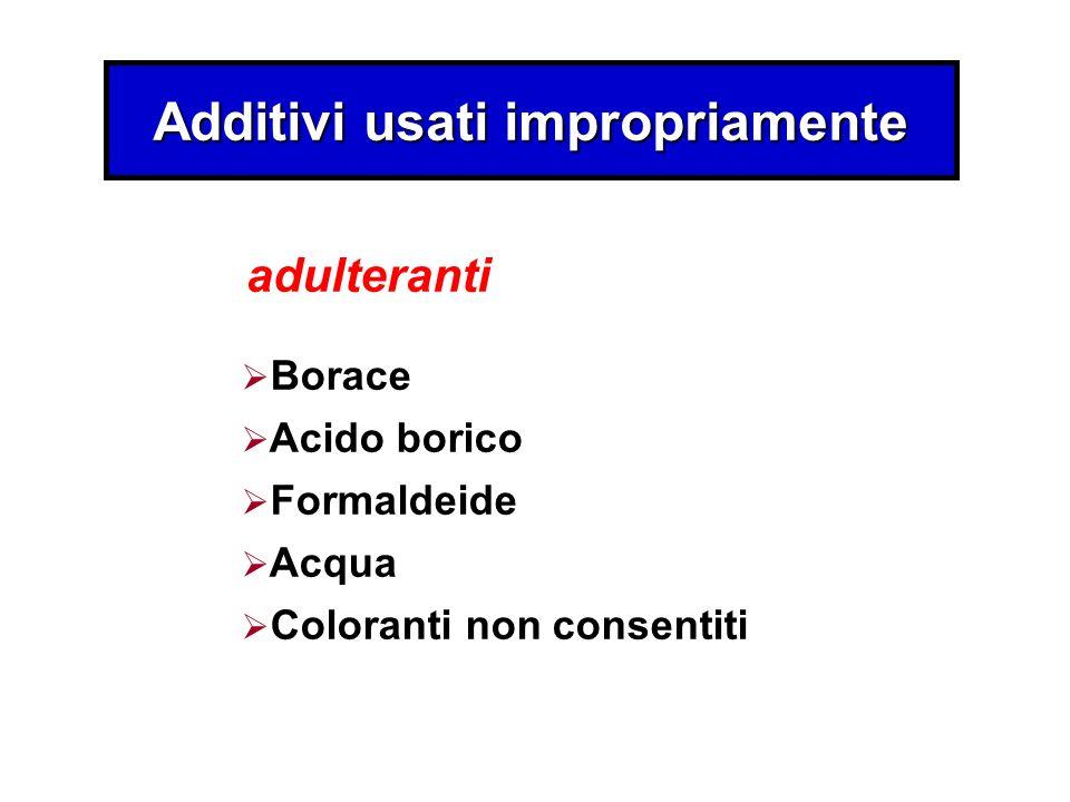Additivi usati impropriamente Borace Acido borico Formaldeide Acqua Coloranti non consentiti adulteranti