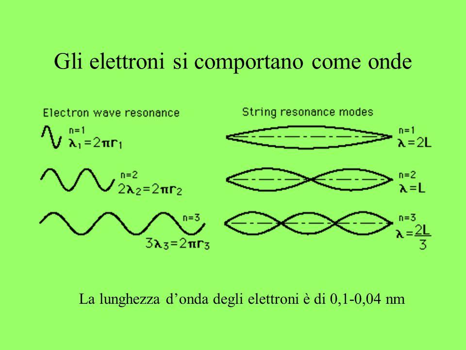 Gli elettroni si comportano come onde La lunghezza donda degli elettroni è di 0,1-0,04 nm
