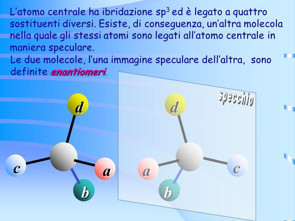 a b c d Latomo centrale ha ibridazione sp 3 ed è legato a quattro sostituenti diversi. Esiste, di conseguenza, unaltra molecola nella quale gli stessi