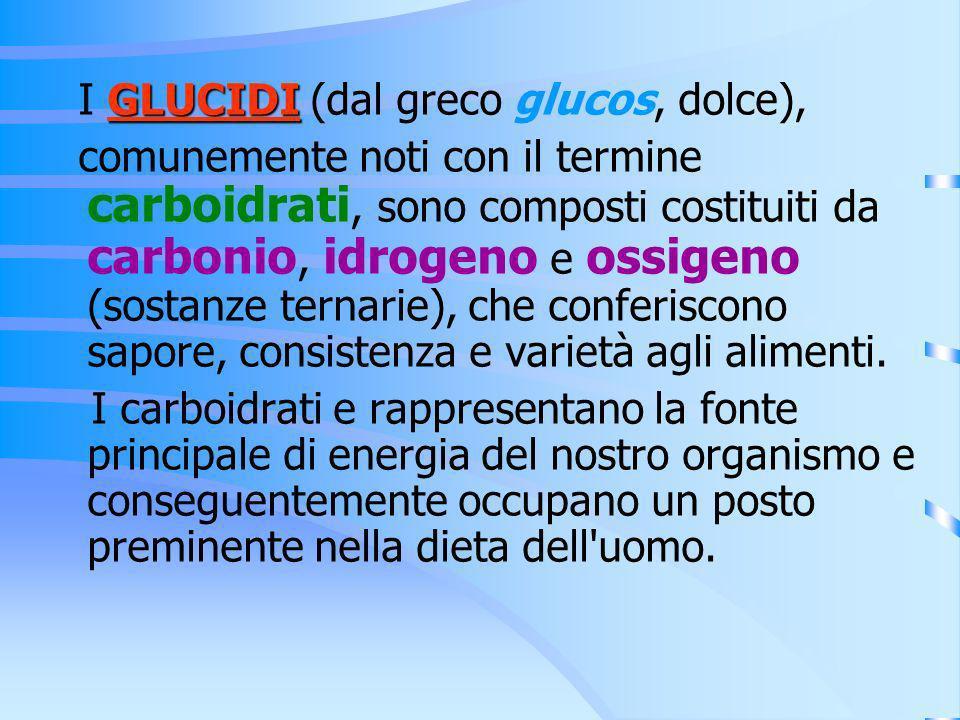 FRUTTOSIO Fornisce circa la stessa energia del glucosio, ma ha maggiore potere dolcificante e viene utilizzato più lentamente da parte dellorganismo, influenzando in maniera ridotta la glicemia.
