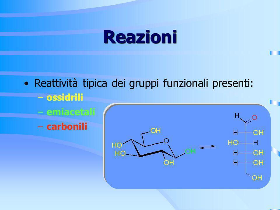 Reazioni Reattività tipica dei gruppi funzionali presenti: –ossidrili –emiacetali –carbonili
