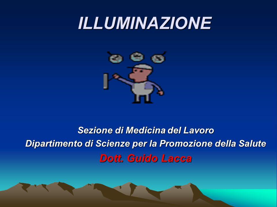 ILLUMINAZIONE Sezione di Medicina del Lavoro Dipartimento di Scienze per la Promozione della Salute Dott. Guido Lacca