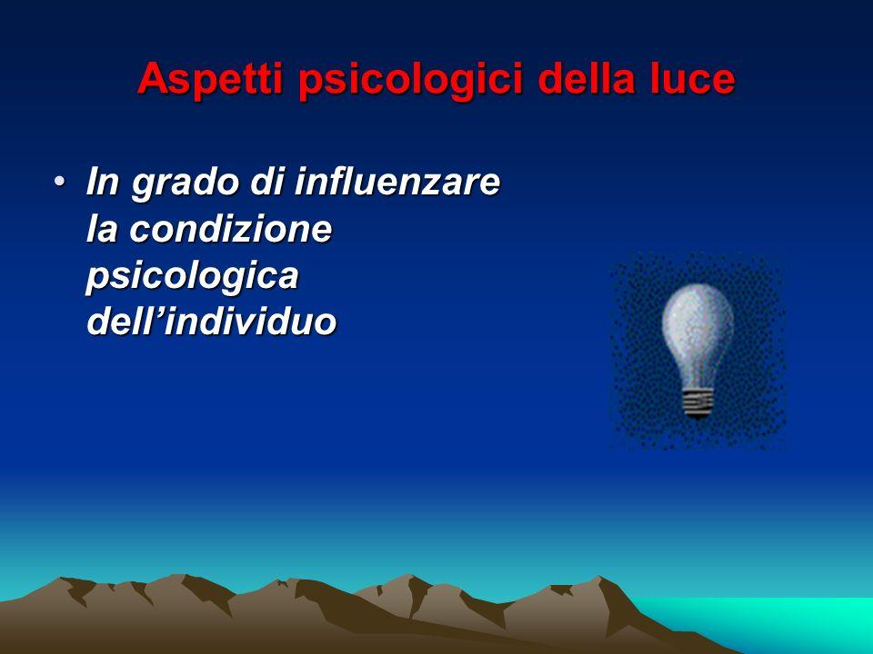 Aspetti psicologici della luce In grado di influenzare la condizione psicologica dellindividuoIn grado di influenzare la condizione psicologica dellin
