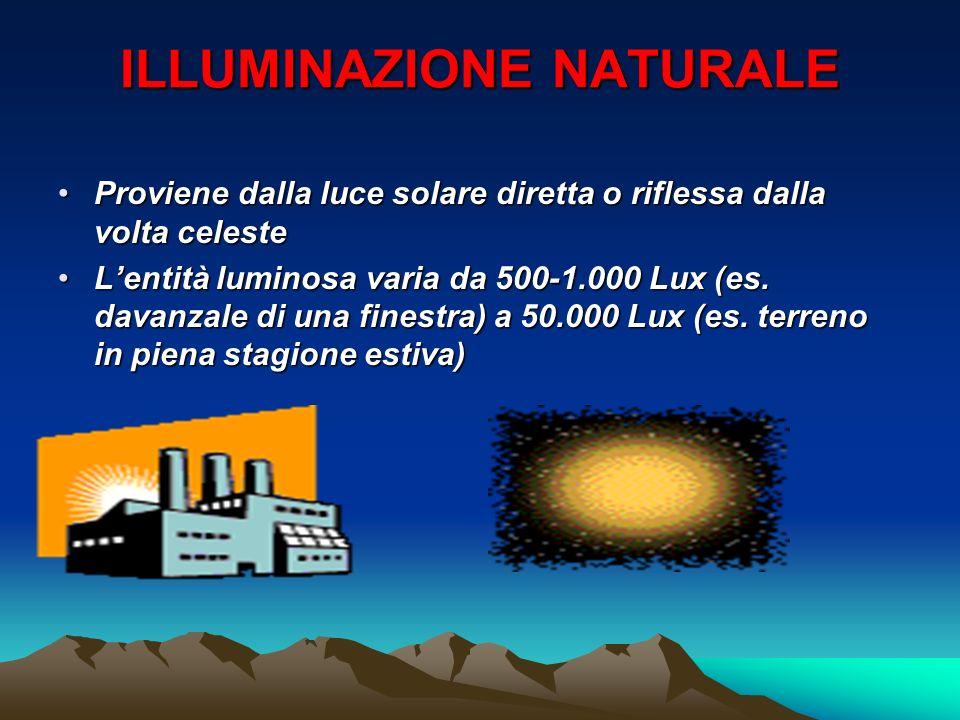 ILLUMINAZIONE NATURALE Proviene dalla luce solare diretta o riflessa dalla volta celesteProviene dalla luce solare diretta o riflessa dalla volta cele