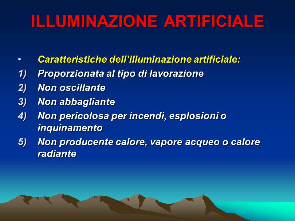 ILLUMINAZIONE ARTIFICIALE Caratteristiche dellilluminazione artificiale:Caratteristiche dellilluminazione artificiale: 1)Proporzionata al tipo di lavo