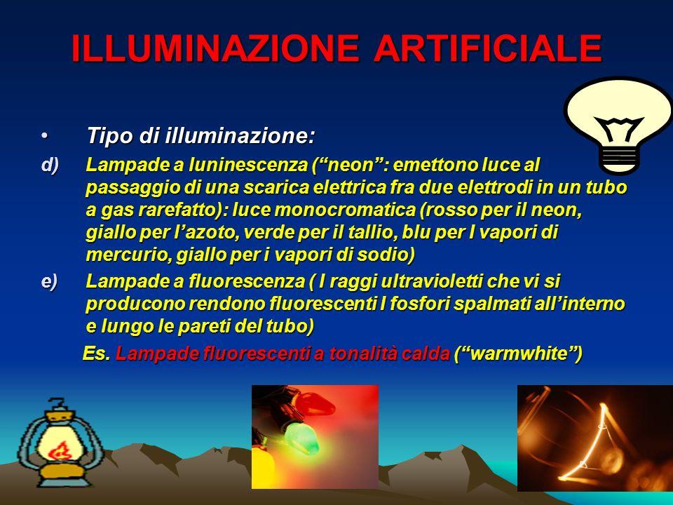ILLUMINAZIONE ARTIFICIALE Tipo di illuminazione:Tipo di illuminazione: d)Lampade a luninescenza (neon: emettono luce al passaggio di una scarica elett