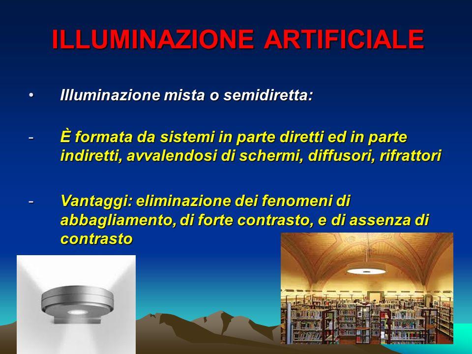 ILLUMINAZIONE ARTIFICIALE Illuminazione mista o semidiretta:Illuminazione mista o semidiretta: -È formata da sistemi in parte diretti ed in parte indi