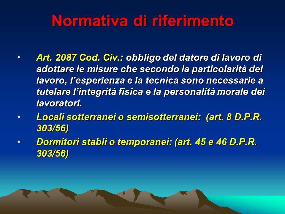 Normativa di riferimento Art. 2087 Cod. Civ.: obbligo del datore di lavoro di adottare le misure che secondo la particolarità del lavoro, lesperienza