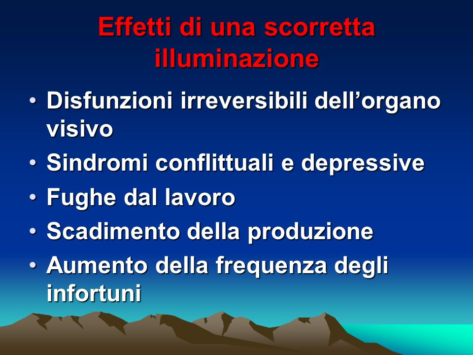 Effetti di una scorretta illuminazione Disfunzioni irreversibili dellorgano visivoDisfunzioni irreversibili dellorgano visivo Sindromi conflittuali e