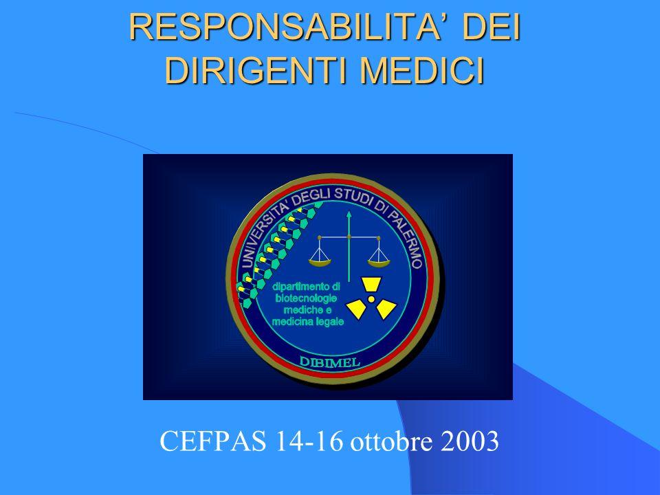 RESPONSABILITA DEI DIRIGENTI MEDICI CEFPAS 14-16 ottobre 2003
