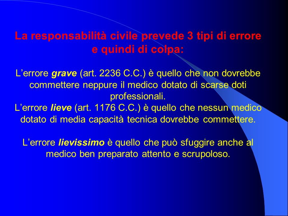 La responsabilità civile prevede 3 tipi di errore e quindi di colpa: Lerrore grave (art.