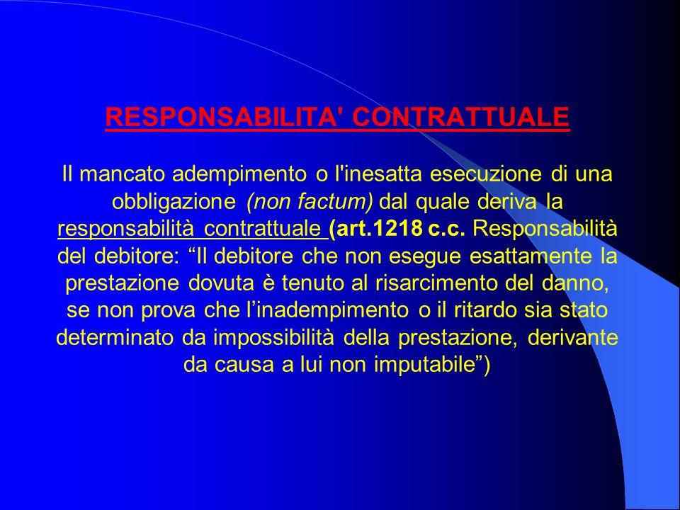 RESPONSABILITA CONTRATTUALE Il mancato adempimento o l inesatta esecuzione di una obbligazione (non factum) dal quale deriva la responsabilità contrattuale (art.1218 c.c.