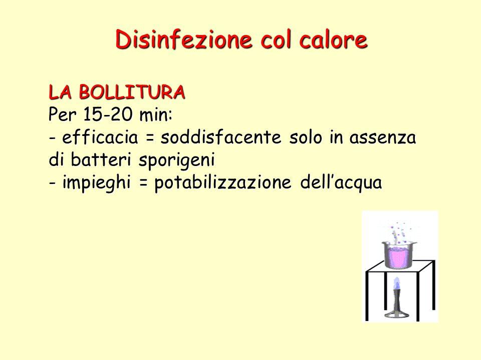 Disinfezione col calore LA BOLLITURA Per 15-20 min: - efficacia = soddisfacente solo in assenza di batteri sporigeni - impieghi = potabilizzazione del