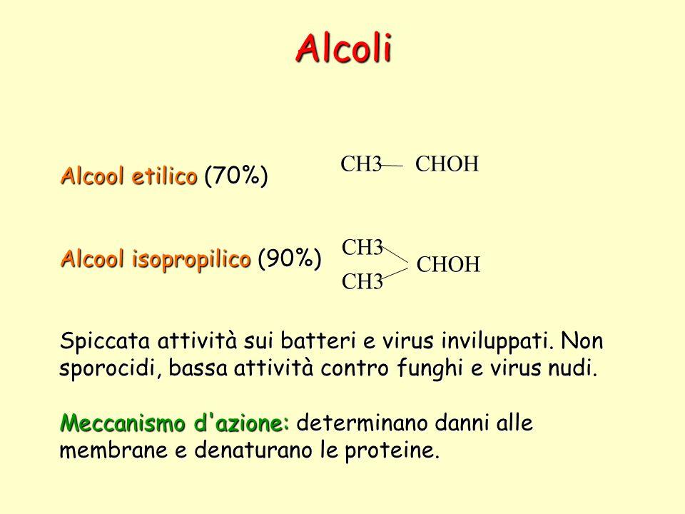 Alcoli Alcool etilico(70%) Alcool etilico (70%) Alcool isopropilico(90%) Alcool isopropilico (90%) Spiccata attività sui batteri e virus inviluppati.