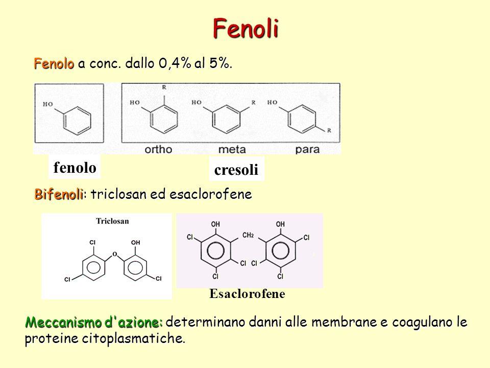 Fenoli Fenoloallo 0,4% al 5%. Fenolo a conc. dallo 0,4% al 5%. fenolo cresoli Esaclorofene Bifenoli: triclosan ed esaclorofene Meccanismo d'azione: de