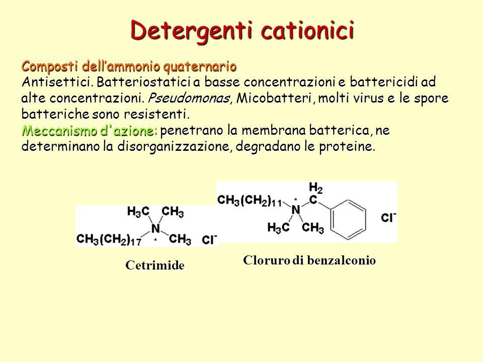 Detergenti cationici Composti dellammonio quaternario Antisettici. Batteriostatici a basse concentrazioni e battericidi ad alte concentrazioni. Pseudo