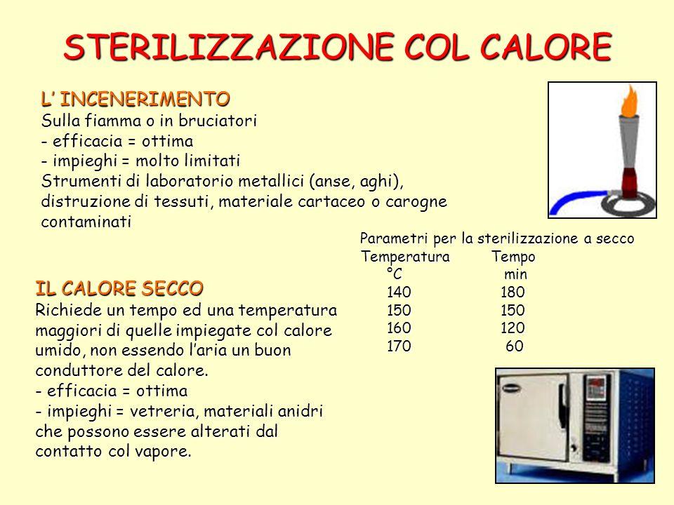 Trattamento con il calore La Uperizzazione (UHT) Riscaldamento indiretto: 6-10 secondi a 135-140°C Riscaldamento diretto: 2-4 secondi a 140-150°C La Tyndalizzazione (sterilizzazione frazionata) Il materiale è riscaldato a 60-100°C per 30 min.