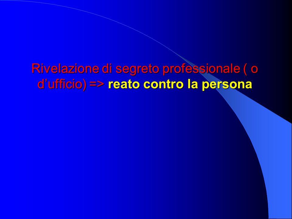 Rivelazione di segreto professionale ( o dufficio) => reato contro la persona