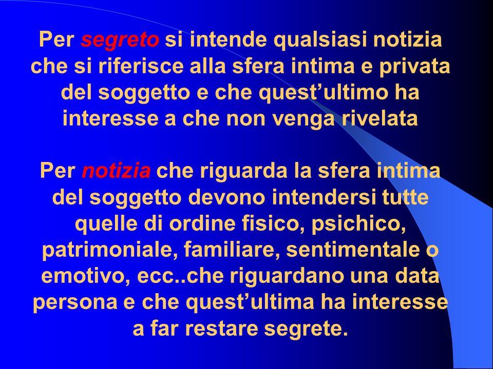 Per segreto si intende qualsiasi notizia che si riferisce alla sfera intima e privata del soggetto e che questultimo ha interesse a che non venga rive
