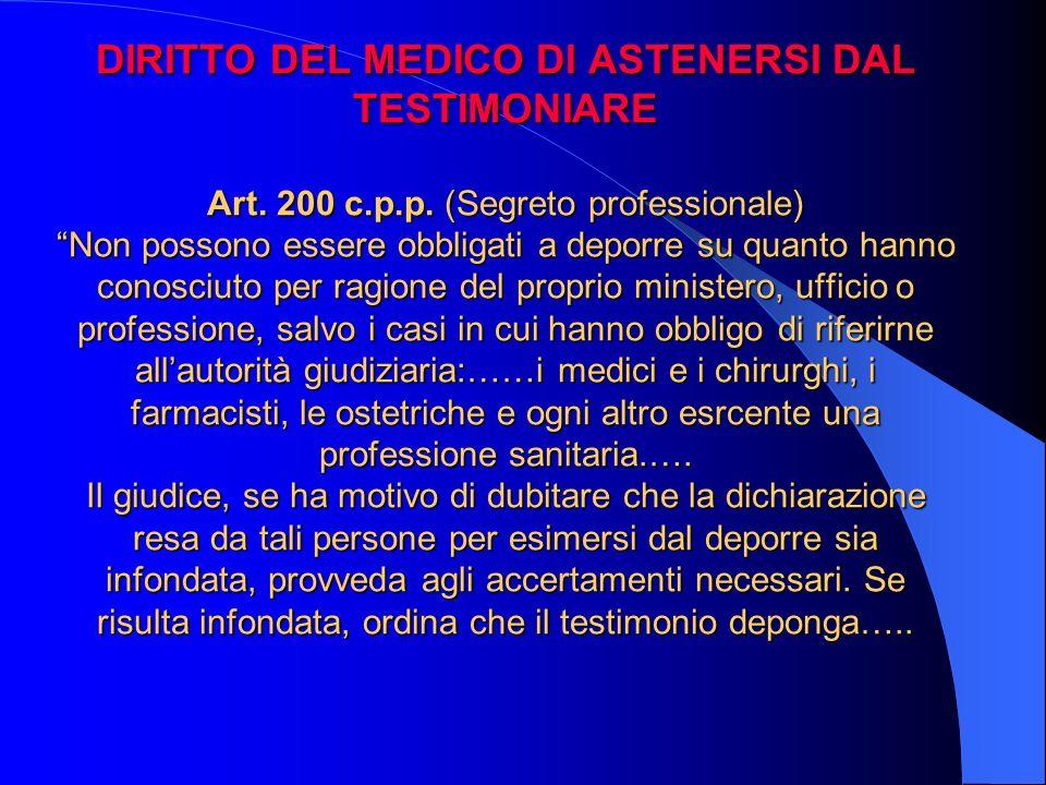 DIRITTO DEL MEDICO DI ASTENERSI DAL TESTIMONIARE Art. 200 c.p.p. (Segreto professionale) Non possono essere obbligati a deporre su quanto hanno conosc