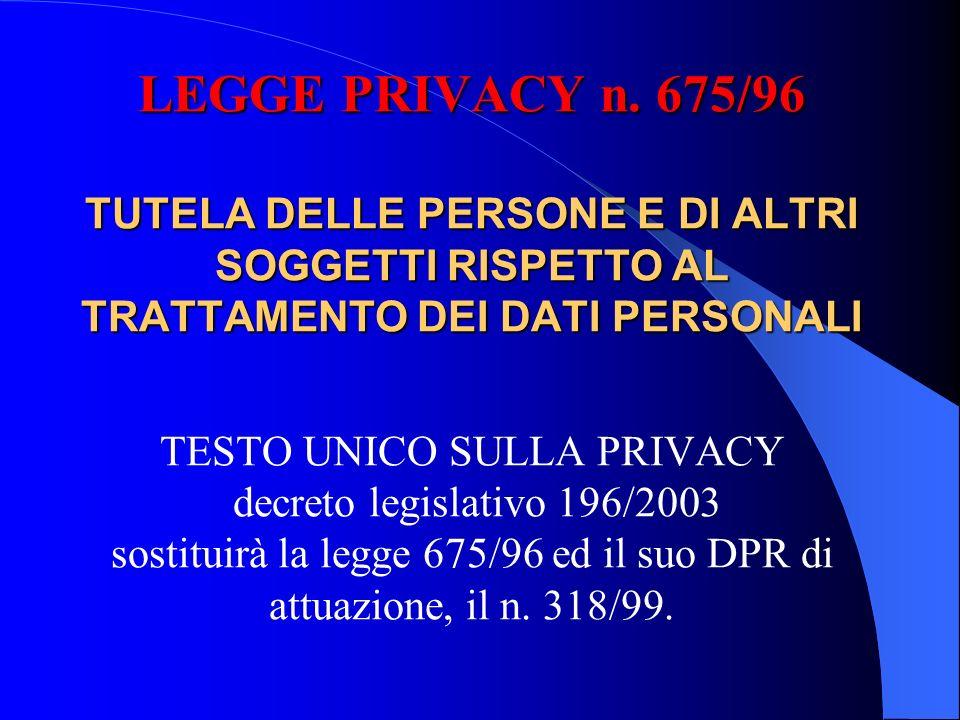 LEGGE PRIVACY n. 675/96 TUTELA DELLE PERSONE E DI ALTRI SOGGETTI RISPETTO AL TRATTAMENTO DEI DATI PERSONALI LEGGE PRIVACY n. 675/96 TUTELA DELLE PERSO