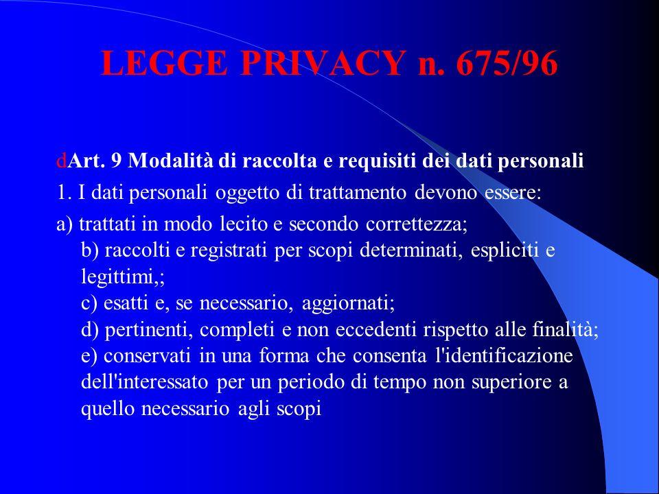LEGGE PRIVACY n. 675/96 dArt. 9 Modalità di raccolta e requisiti dei dati personali 1. I dati personali oggetto di trattamento devono essere: a) tratt