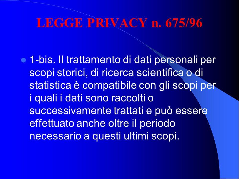 LEGGE PRIVACY n. 675/96 1-bis. Il trattamento di dati personali per scopi storici, di ricerca scientifica o di statistica è compatibile con gli scopi