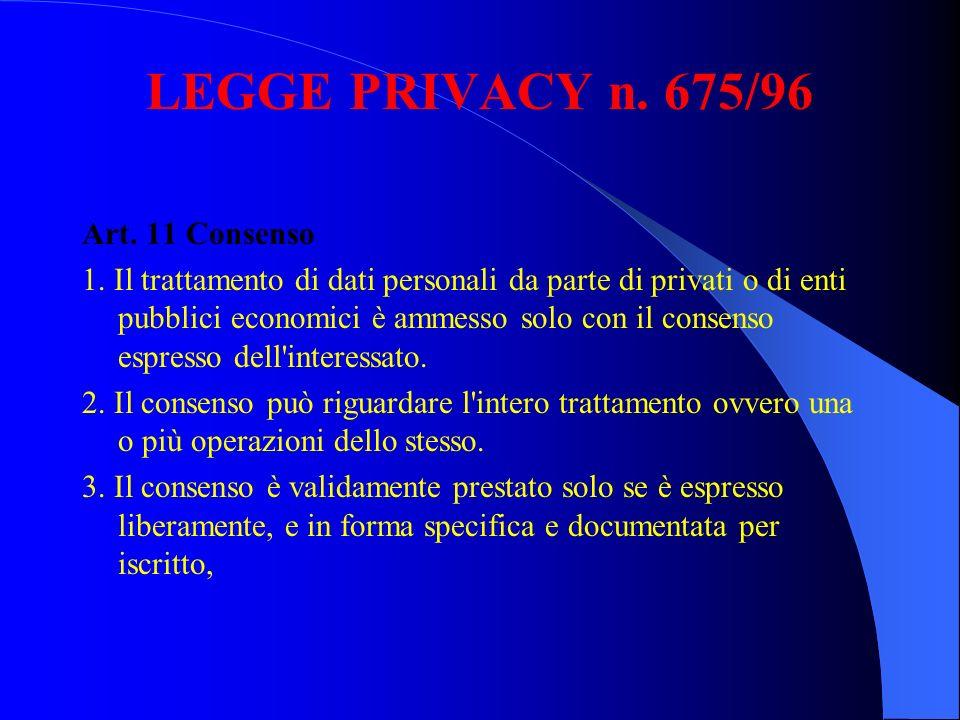 LEGGE PRIVACY n. 675/96 Art. 11 Consenso 1. Il trattamento di dati personali da parte di privati o di enti pubblici economici è ammesso solo con il co