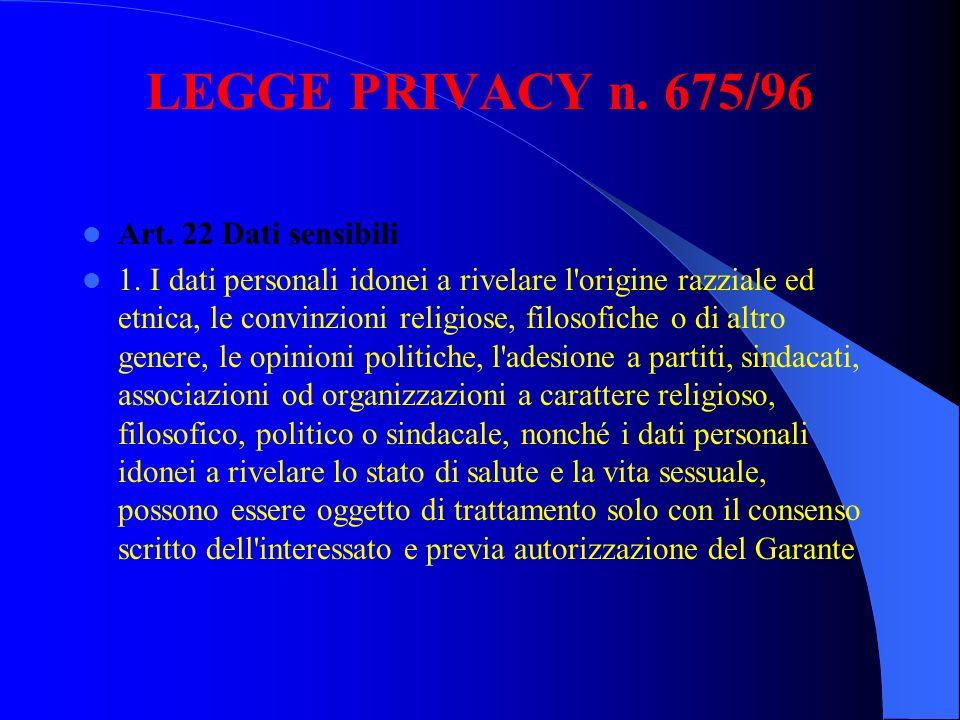 LEGGE PRIVACY n. 675/96 Art. 22 Dati sensibili 1. I dati personali idonei a rivelare l'origine razziale ed etnica, le convinzioni religiose, filosofic