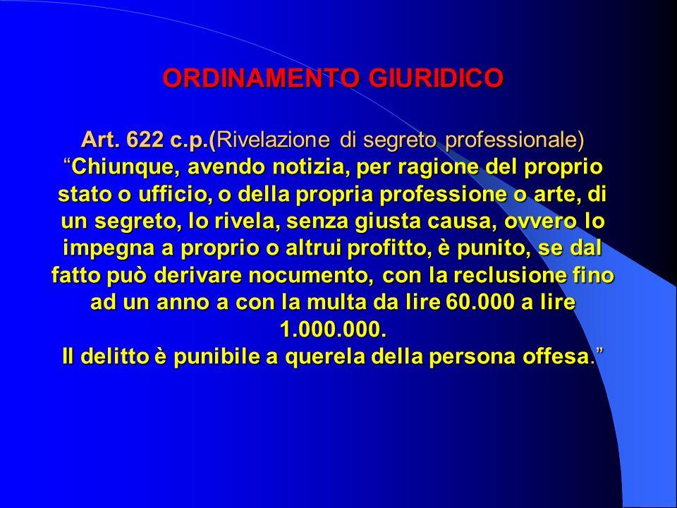 ORDINAMENTO GIURIDICO Art. 622 c.p.(Rivelazione di segreto professionale)Chiunque, avendo notizia, per ragione del proprio stato o ufficio, o della pr