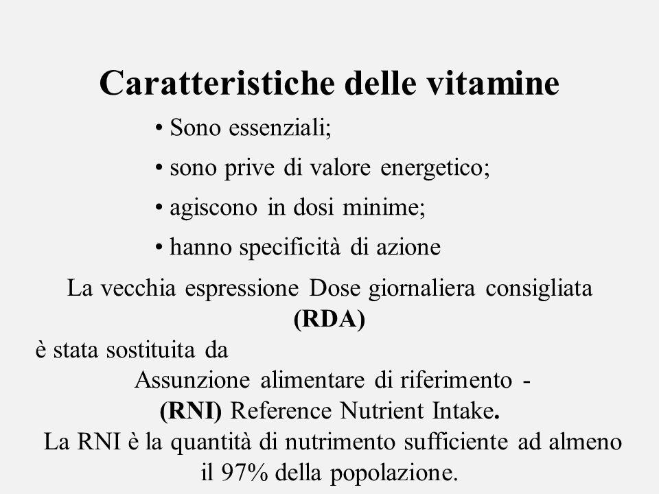 Sono essenziali; sono prive di valore energetico; agiscono in dosi minime; hanno specificità di azione Caratteristiche delle vitamine La vecchia espre