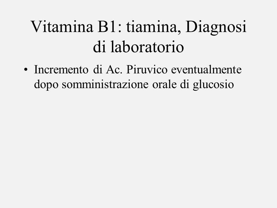 Vitamina B1: tiamina, Diagnosi di laboratorio Incremento di Ac. Piruvico eventualmente dopo somministrazione orale di glucosio