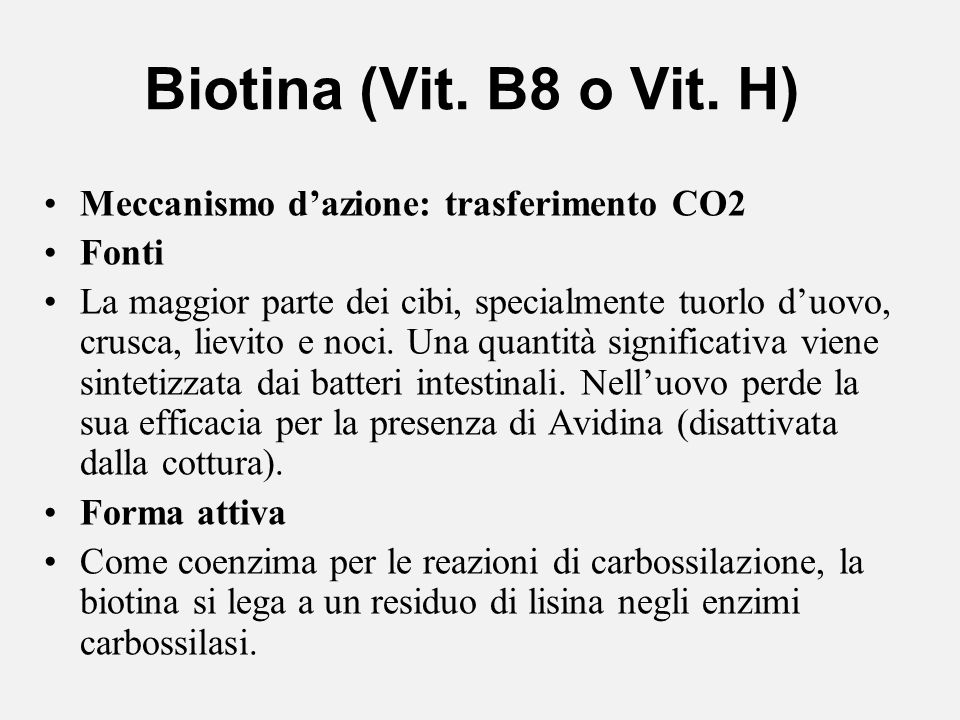 Biotina (Vit. B8 o Vit. H) Meccanismo dazione: trasferimento CO2 Fonti La maggior parte dei cibi, specialmente tuorlo duovo, crusca, lievito e noci. U