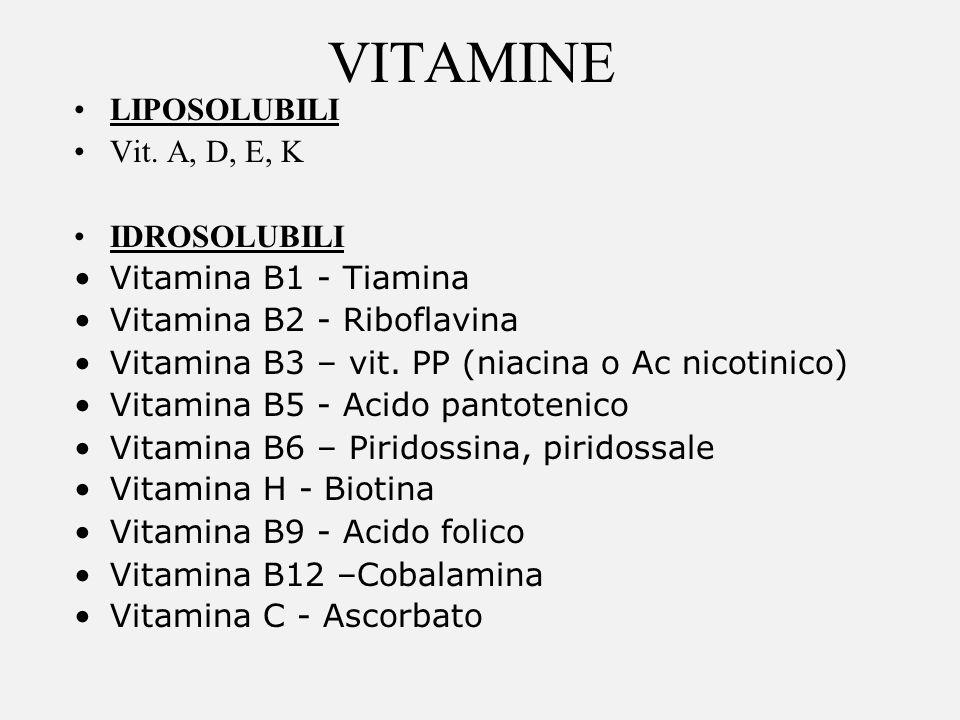 VITAMINE LIPOSOLUBILI Vit. A, D, E, K IDROSOLUBILI Vitamina B1 - Tiamina Vitamina B2 - Riboflavina Vitamina B3 – vit. PP (niacina o Ac nicotinico) Vit